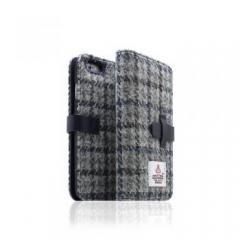 【iPhone6s/6 ケース】Harris Tweed Diary グレー×ネイビー