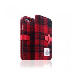 【iPhone6s Plus/6 Plus ケース】Harris Tweed Diary レッド×ブラック