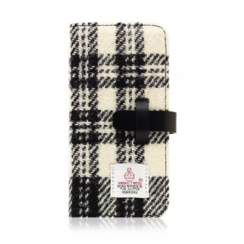 【iPhone6s Plus/6 Plus ケース】Harris Tweed Diary ホワイト×ブラック